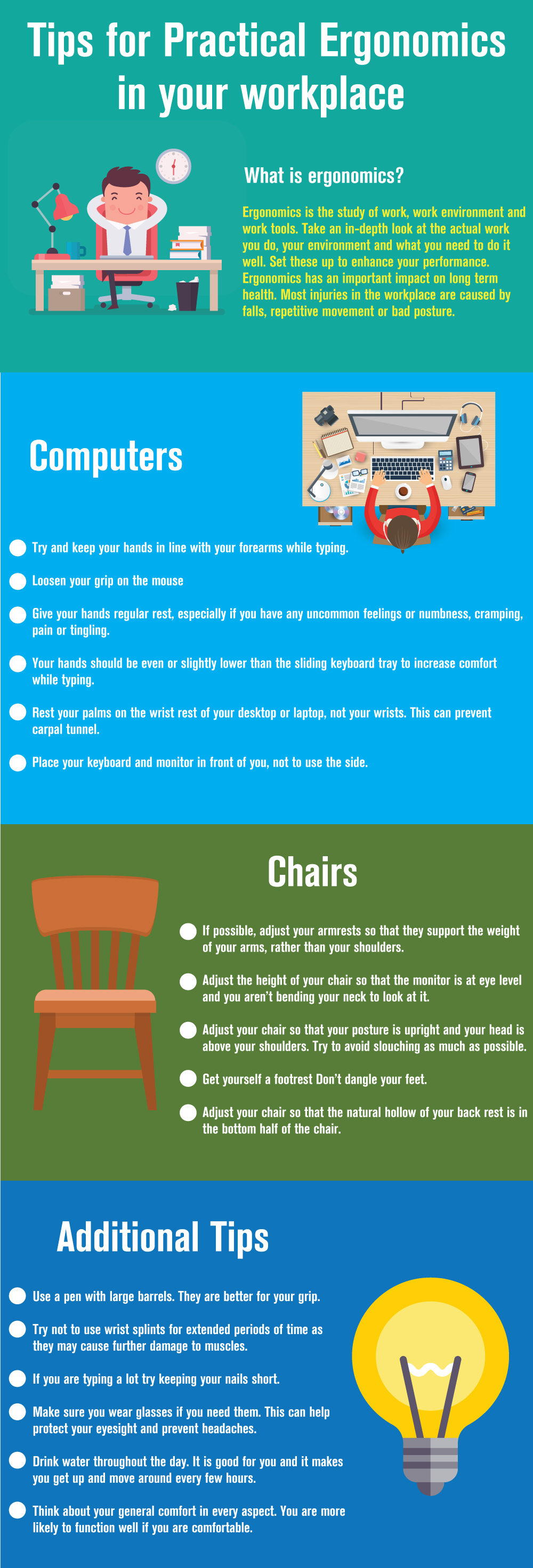 Tips for practical ergonomics in the workspace